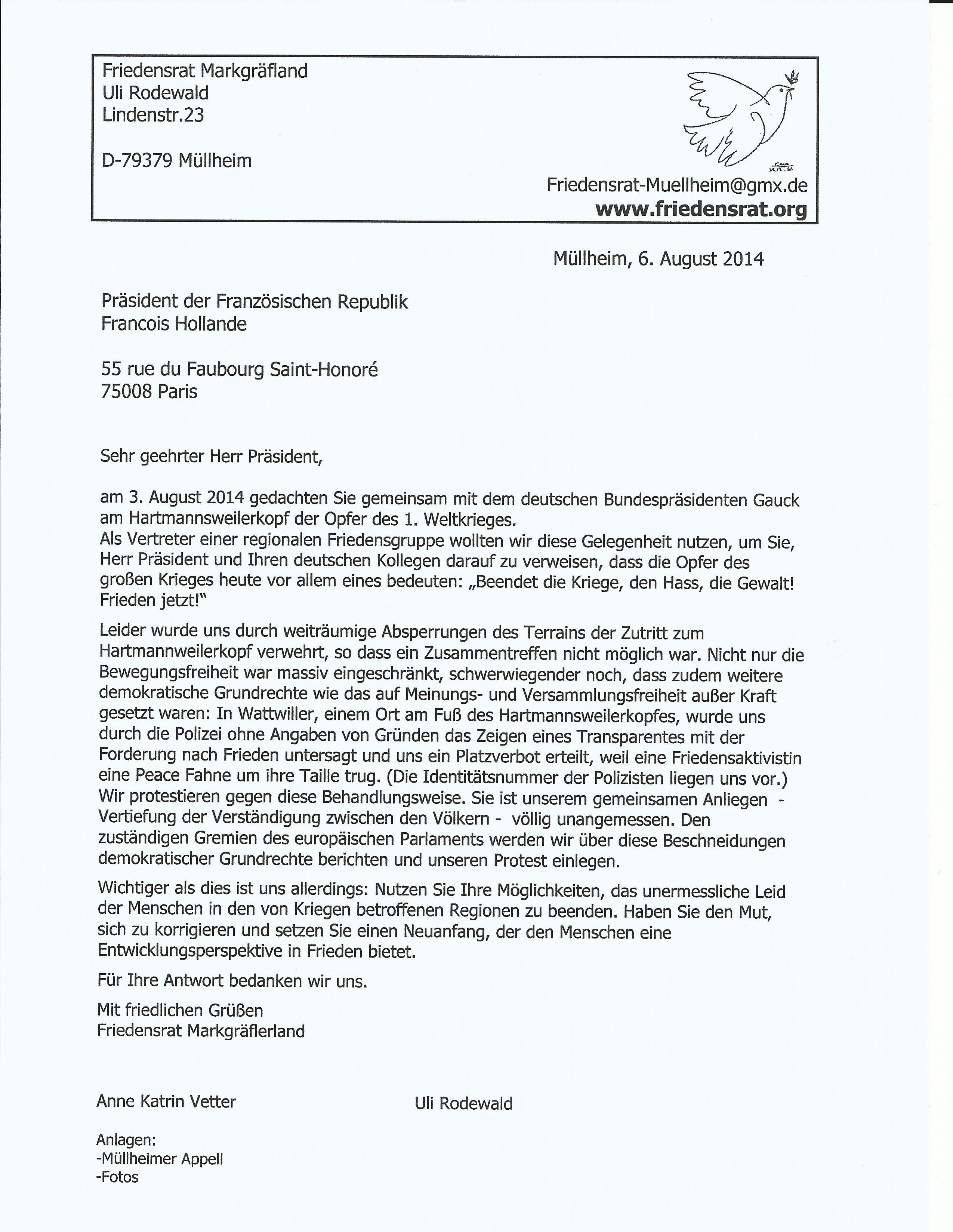 Friedensrat Markgräflerland Nachrichten